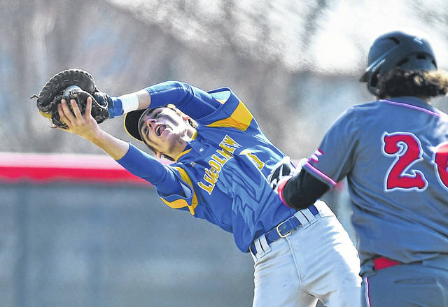 Lincolnview's Clayton Leeth catches a infield fly during Saturday's game against Lincolnview at Lima Senior.