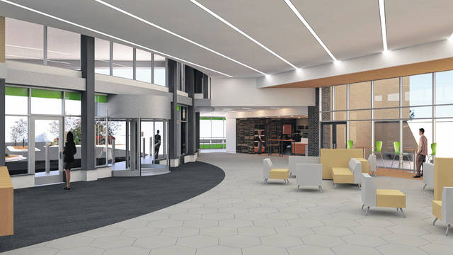 An artist's rendering shows the lobby in a new welcome center at Lima Memorial Health System.