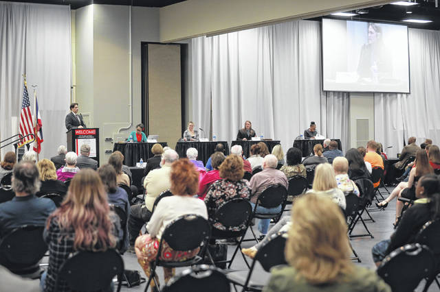 From left, moderator Dr. Robert Alexander and mayoral candidates Autumn Swanson, Elizabeth Hardesty, Dr. Joshua Hayes and Sharetta Smith participated in a debate Tuesday sponsored by the Lima/Allen County Chamber of Commerce and League of Women Voters at Veterans Memorial Civic Center in Lima.