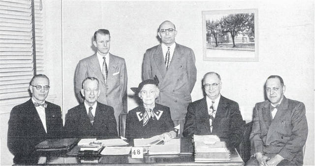 Dr. Josephine Peirce, seated at the center, was president of the Lima school board and featured in the graduation program for South in 1954.