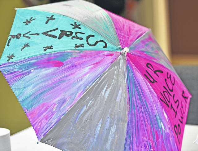 A completed painted umbrella shares a message of power about sexual assault survivors.