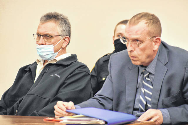 Defense Attorney Kenneth Rexford, right, argued Monday that prosecutors violated a court order when they failed to disclose an expert witness in the trial of his client, Frank Steinke. Steinke is charged with aggravated vehicular homicide in the traffic death last year of Nicole Schulte of Wapakoneta.