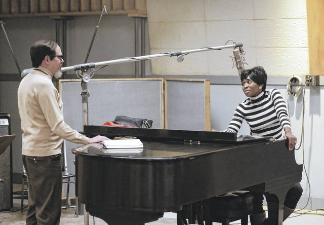 """Music producer Jerry Wexler, left, played by David Cross, talks with Aretha Franklin, played by Cynthia Erivo, in the studio in """"Genius: Aretha."""" (Richard DuCree/National Geographic)"""