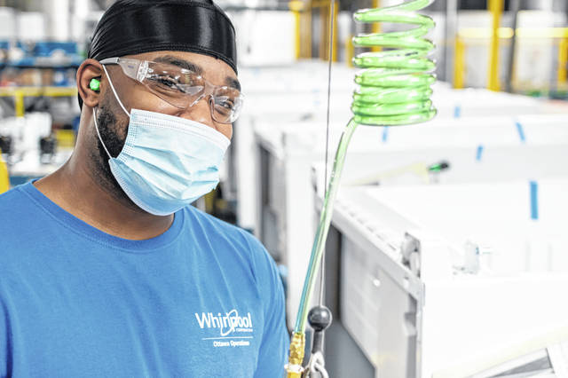 Whirlpool employee Darien Shurelds is pictured on the factory floor at the Ottawa facility.
