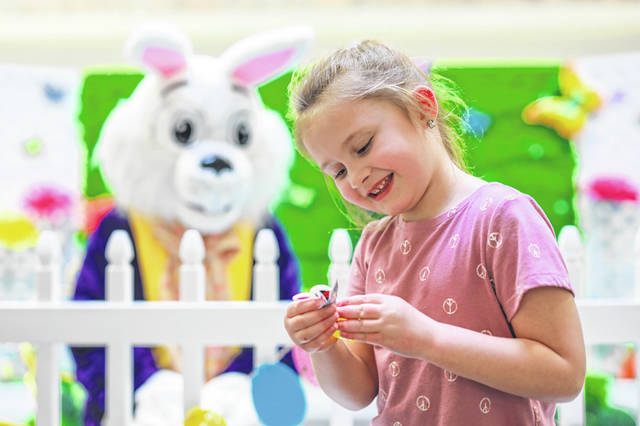 Elliot Davis, 5, of Lima is all smiles after meeting the Easter Bunny at the Lima Mall. The Easter Bunny will be at the mall from 11 a.m. to 7 p.m. on Saturday and noon to 6 p.m. Sunday. The mall will host Cute as a Bunny Crafts the next two Saturdays from 11a.m. to 12:30 p.m., near Old Navy. People can bring their family pets to meet the bunny on Sunday and Friday from 6 p.m. to 8 p.m. at Bunny's Garden next to Old Navy.