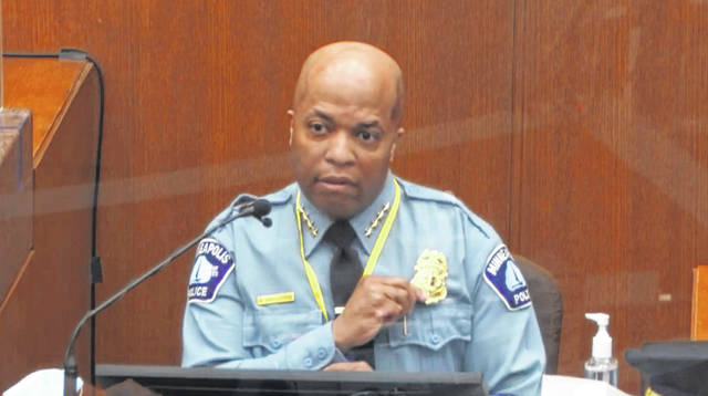 In this image from video, witness Minneapolis Police Chief Medaria Arradondo testifies as Hennepin County Judge Peter Cahill presides Monday in the trial of former Minneapolis police Officer Derek Chauvin at the Hennepin County Courthouse in Minneapolis. Chauvin is charged in the May 25, 2020, death of George Floyd.