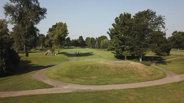 This photo from July 30, 2019, shows a golfer's tee box atop a 2,000-year-old mound at Moundbuilders Country Club at the Octagon Earthworks in Newark, Ohio.