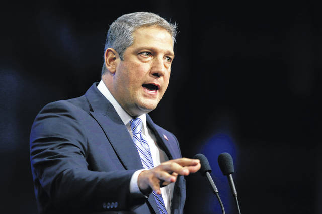 Rep. Tim Ryan, D-Ohio, speaks during the New Hampshire state Democratic Party convention in Manchester, N.H., in 2019. Ryan, a 10-term representative from Ohio's blue-collar Mahoning Valley, officially launched his bid Monday for a coveted open Senate seat in Ohio.