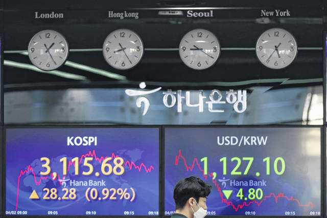 A currency trader walks Friday near the screens showing the Korea Composite Stock Price Index (KOSPI), left, and the foreign exchange rate between U.S. dollar and South Korean won at the foreign exchange dealing room of the KEB Hana Bank headquarters in Seoul, South Korea. Asian shares were higher Friday after a broad rally pushed the S&P 500 past 4,000 points for the first time.