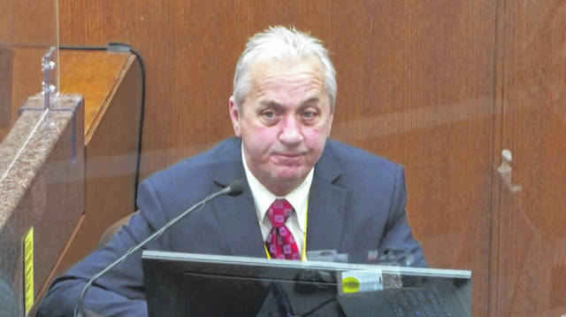 In this image from video, witness Lt. Richard Zimmerman of the Minneapolis Police Department, testifies Friday as Hennepin County Judge Peter Cahill presides in the trial of former Minneapolis police Officer Derek Chauvin at the Hennepin County Courthouse in Minneapolis, Minn. Chauvin is charged in the May 25, 2020 death of George Floyd.