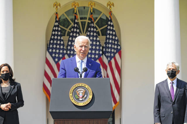 President Joe Biden, accompanied by Vice President Kamala Harris, and Attorney General Merrick Garland, speaks about gun violence prevention Thursday in the Rose Garden at the White House, in Washington.