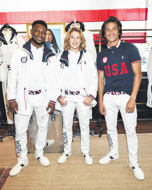 Athletes Daryl Homer (Fencing), left, Jordyn Barratt (Skateboard) and Heimana Reynolds (Skateboard) participate in the Team USA Tokyo Olympic closing ceremony uniform unveiling at the Ralph Lauren SoHo Store on April 13 in New York. Ralph Lauren is an official outfitter of the 2021 U.S. Olympic Team.