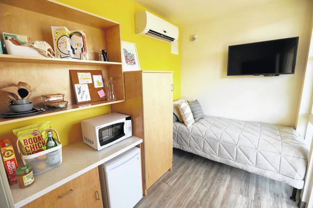 The spaces at Care First Village are small — a total of 135 square feet per unit — but they make efficient use of space and are well-appointed.