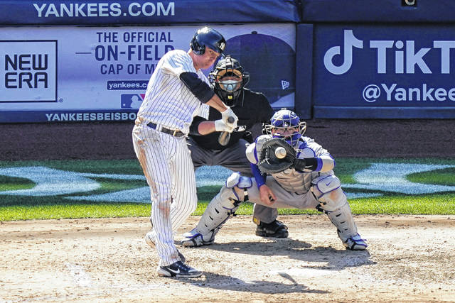Jay Bruce, who began his career with the Cincinnati Reds and also played for the Cleveland Indians, has announced his retirement from baseball at age 34. Bruce is shown here getting a hit earlier this season for the New York Yankees.