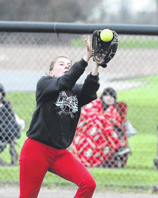 Delphos Jefferson's Jessa Rostorfer makes a catch to record an out during Thursday's game against Lima Central Catholic at Jefferson.