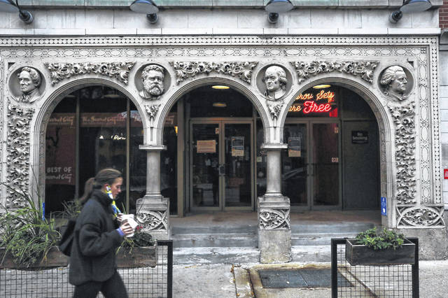 The main entrance to The Second City comedy theater in Chicago in October 2020