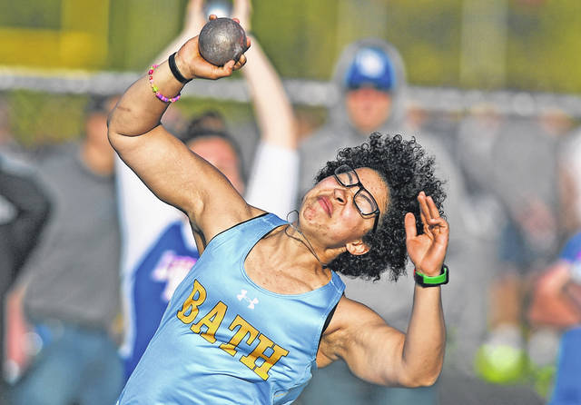 Bath's Jordan Dilworth competes in the shot put during Friday night's Ottawa-Glandorf Gold Medal Meet.