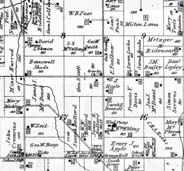A map shows the Perry Township area as it was in 1880, including a marking for Greely Chapel.