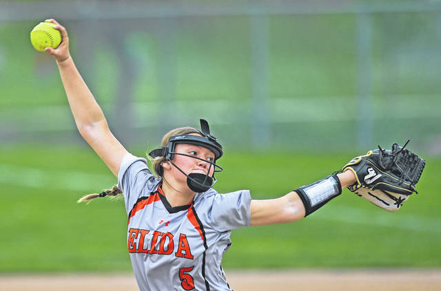 Elida's Kylie Biglow pitches against Kalida during Wednesday's game at Kalida High School. Biglow gave up three hits in five innings.