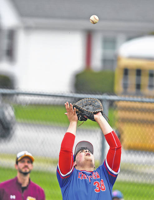 Crestview's Trever Sheets gets under a fly ball during Saturday's game at Holy Name Ballpark.