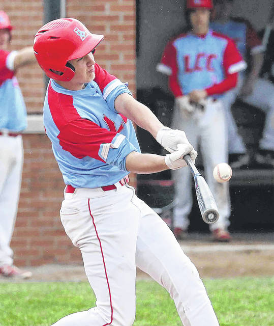 Lima Central Catholic's Carson Parker bats during Thursday's home game against Perry.