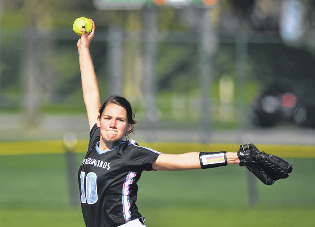 Lima Central Catholic's Abby Watkins pitches during Tuesday's game against Lima Senior at Faurot Park.
