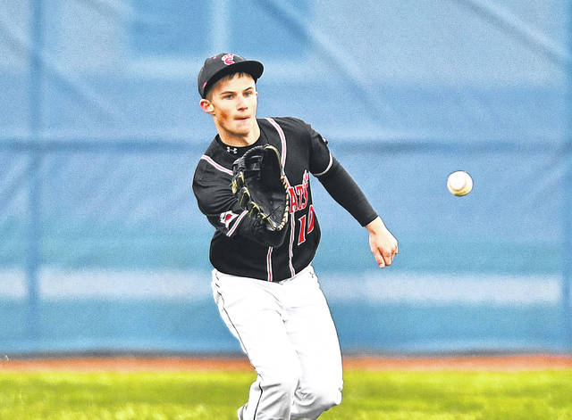 Spencerville's Carter Ringwald fields a ball in the outfield during Thursday's game at Lincolnviewl. See more game photos at LimaScores.com.