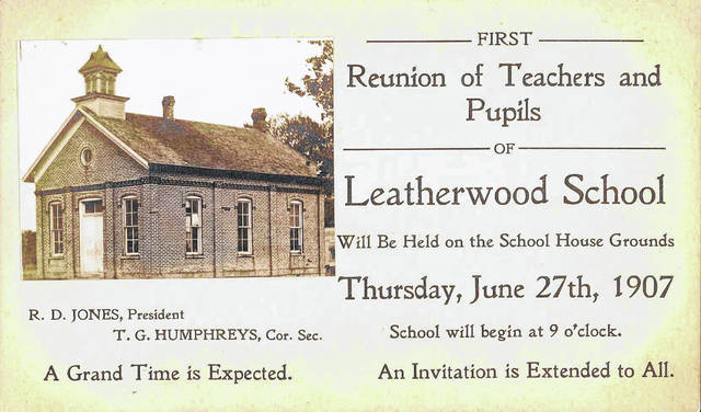 Leatherwood was located on the Lincoln Highway east of what is now its intersection with Robinson Road. A reunion for teachers and pupils at its school was held in 1907.