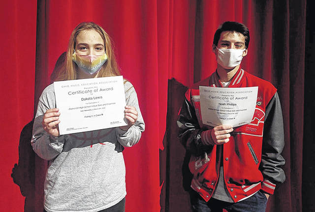 Dakota Lewis, left, and Noah Phillips received superior ratings for their performances at the Ohio Music Education Association's virtual solo and ensemble contest. Submitted photo