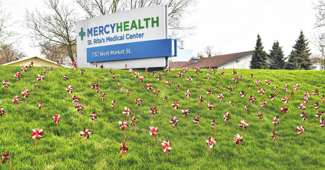 Mercy Health St. Rita's celebrates organ donation with a Pinwheel Garden on Thursday. April is National Donate Life Month and St. Rita's, in collaboration with The Ohio State University Wexner Medical Center, is building awareness with a Pinwheel Garden.