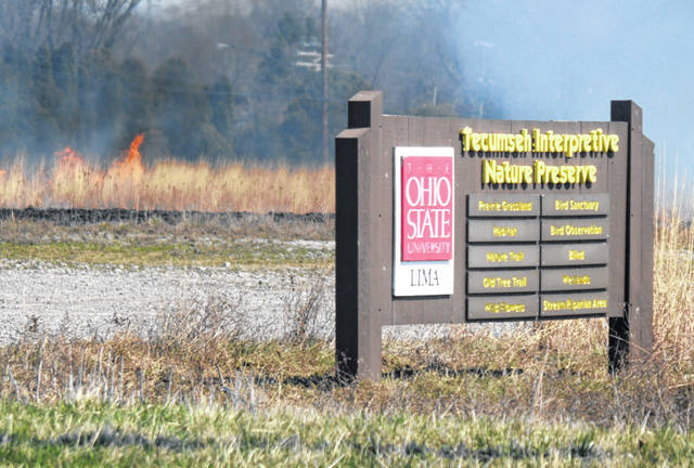 A prairie, owned by The Ohio State University at Lima, underwent a transformation by fire Sunday as part of a prescribed burn.