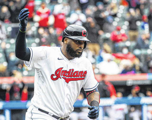 Franmil Reyes of the Cleveland Indians reacts after hitting a three-run home run off New York Yankees starting pitcher Jameson Taillon during the fourth inning of Cleveland's 7-3 win over the Yankees on Sunday.