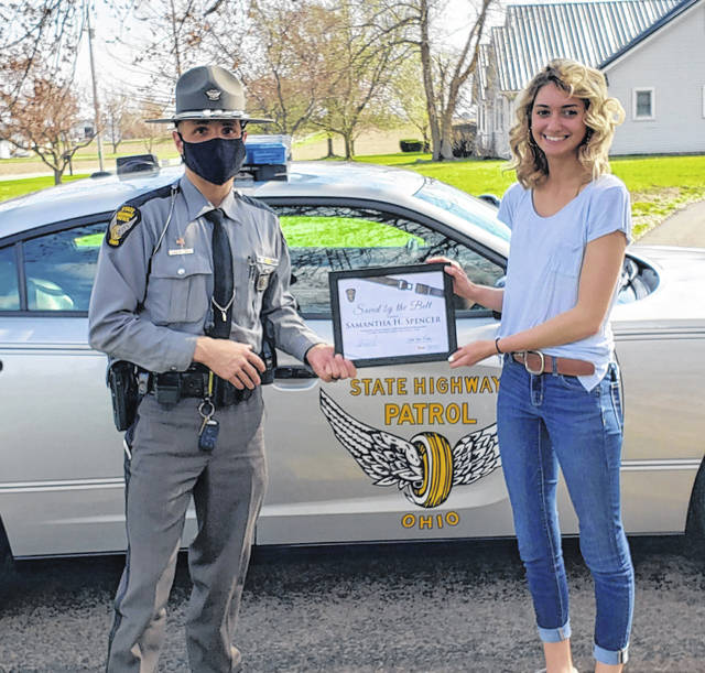"""Samantha Spencer of Harrod has joined Ohio's """"Saved by the Belt"""" Club after her safety belt saved her from sustaining life-threatening injuries in a Feb. 8 traffic crash in Allen County."""