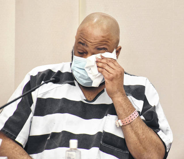 Terrez Carter, 48, dabbed tears from his eyes Monday as supporters asked Judge Jeffrey Reed for leniency for the Lima man.