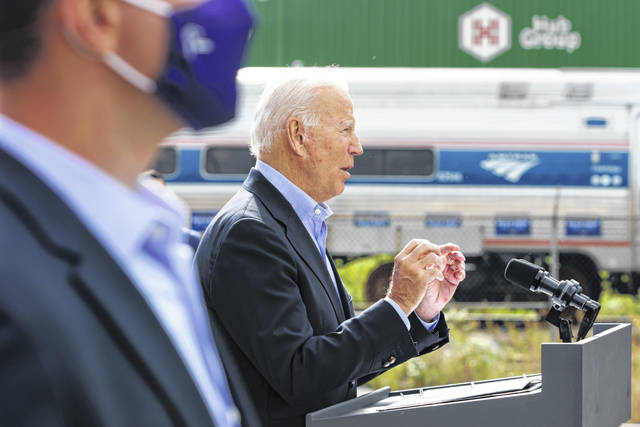 Democratic U.S. presidential nominee Joe Biden speaks at the launch of a train tour at the Cleveland Amtrak Station on September 30, 2020, in Cleveland. Alex Wong/Getty Images/TNS
