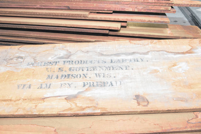 This historic mahogany lumber, received from USDA Forest Service's Forest Products Laboratory, will be used to replace U.S. Capitol doors and other wood details damaged during the January 2021 breach.