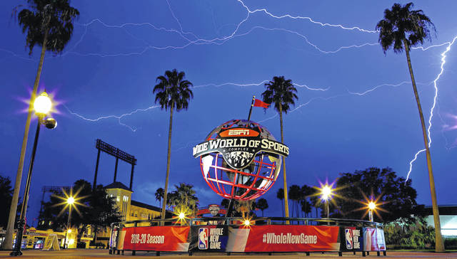 A view of ESPN Wide World Of Sports Complex during a lightning storm following a game between the Phoenix Suns and Milwaukee Bucks at The Field House on August 10, 2020, in Lake Buena Vista, Florida.