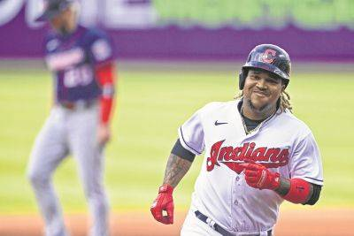 The Indians' Jose Ramirez runs the bases after hitting a home run in the first inning of Tuesday night's game against Minnesota in Cleveland.