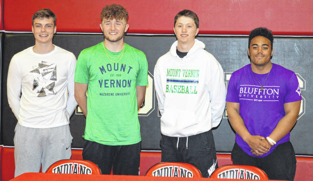 Athletes signing college letters of intent at Shawnee were, from left, George Mangas (Fairmont State, basketball), Caden Vermillion (Mount Vernon Nazarene, baseball), Jarin Bertke (Mount Vernon Nazarene, baseball) and Reece Bagan (Bluffton University, football).