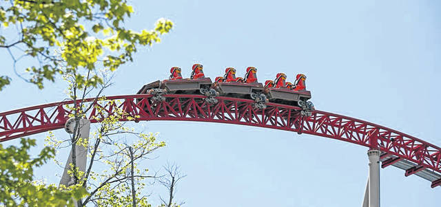 The Maverick runs for guests as Cedar Point prepared Thursday for the 2021 season grand opening. Media toured Frontiertown to see some of the new offerings to visitors this season.