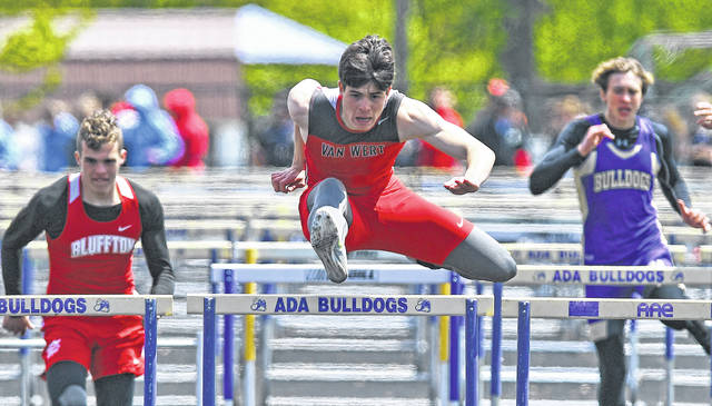 Van Wert's Tyson Jackson competes in the 110 meter hurdles during Saturday's Ada Invitational at War Memorial Park. See more track and field photos at LimaScores.com.