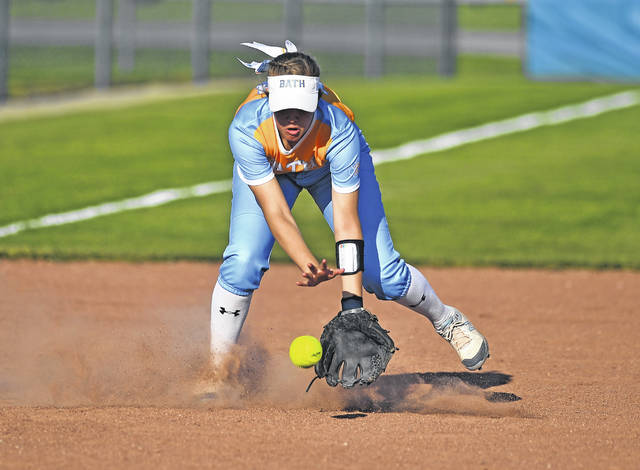 Bath's Esther Bolon fields a ground ball during Friday's Division II sectional final against Defiance at Bath.