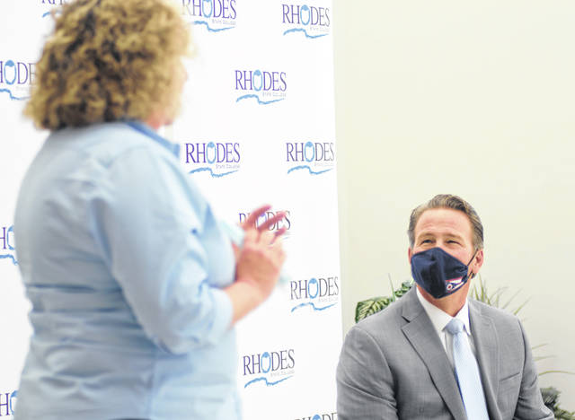 Lt. Gov. Jon Husted (right) participates in a round-table discussion with educators, parents and employers supportive of Rhodes State College's new Uniquely Abled Academy. The program is the first of its kind in Ohio and offers a new workforce development model.