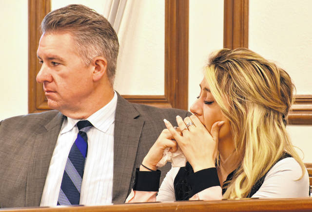 Cheyenne Hooper, on trial for causing the severe injuries sustained by her 7-month-old daughter at a Lima residence more than two years ago, dabbed tears from her eyes as a 911 call for help for her daughter was played for jurors on Wednesday.
