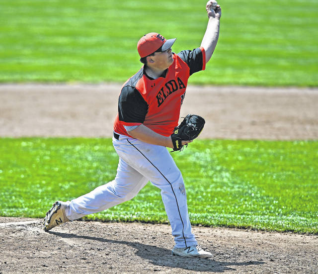 Hayes Burton pitches for Elida against Celina during Saturday's game at Ed Sandy Field. See more baseball photos at LimaScores.com.