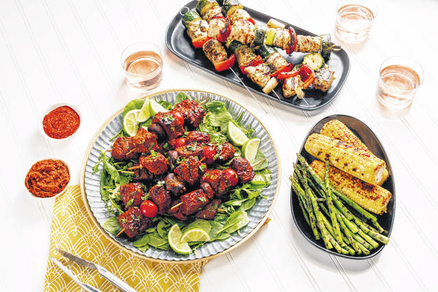 Turkey and Vegetable Kebabs and Smoky Beef and Mushroom Kebabs. Styled by Shannon Kinsella.