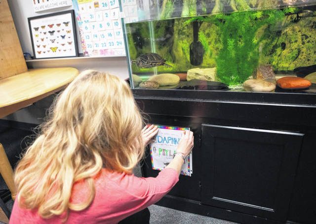 Katie Guehl, a fourth-grade teacher at Indian Run Elementary School in Dublin, hangs a name tag drawn by one of her students on the tank of Daphne Phyllis, a red-eared slider turtle that she has had for more than 20 years and is her classroom pet.