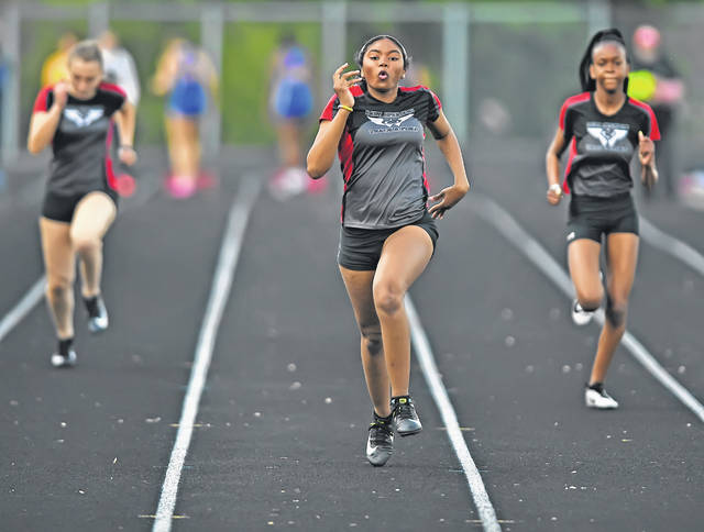 Lima Senior's Lataunya Turks competes in the 100 meter dash during Wednesday's Lady Spartan Invitational at Spartan Stadium. It marked the first Lady Spartan Track and Field Invitational. Results were unavailable at press time.