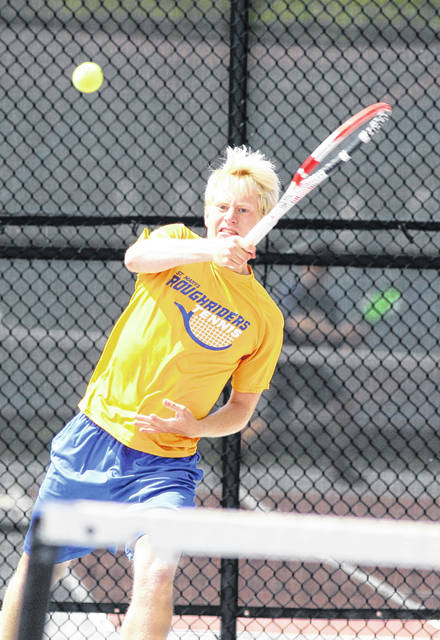 St. Marys' Connor Milner, pictured, teamed up with Isaac Wibbeler to win the second doubles title at Saturday's Western Buckeye League tournament at UNOH.