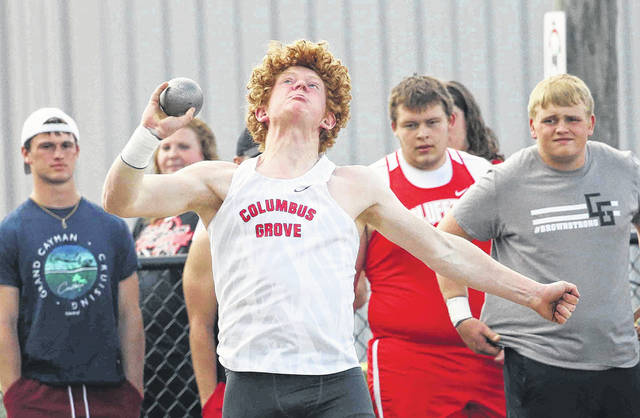 Columbus Grove's A.J. Schafer competes in the shot put Thursday at the Northwest Conference Championships at Columbus Grove. See more track and field photos at LimaScores.com.